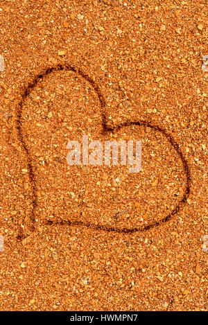 heart in the red sand, I love Australia - sun in Australia, Western australia, australia, down under, - Stock Photo
