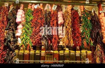 BARCELONA, SPAIN - NOVEMBER 11, 2015: The largest fresh food market in Barcelona. The first mention dates from 1217. - Stock Photo