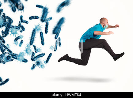 Attack of bacteria. 3D Rendering - Stock Photo