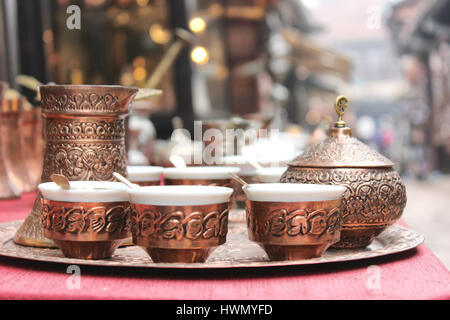 Traditional handcrafted copper coffee pots in souvenir shops in Sarajevo