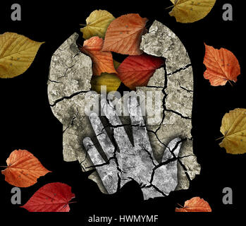 Stylized male head silhouette holding his head.Photo-montage with Dry cracked earth and autumn leaves symbolizing - Stock Photo