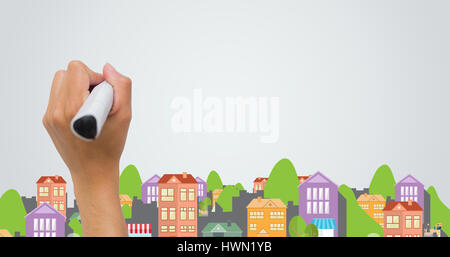 Digital composite image of colorful city against female hand writing with marker - Stock Photo
