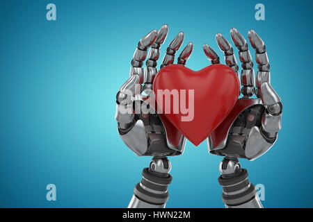 Three dimensional image of robot holding heart shape decoration against blue vignette background 3d - Stock Photo