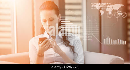 Graphical interface by binary coding over black background against businesswoman sitting and using mobile phone - Stock Photo