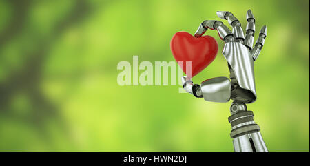 3d image of robot hand holding red heard shape decoration against trees in forest - Stock Photo