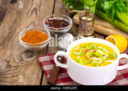 Healthy diet food vegetable mashed potatoes with celery - Stock Photo