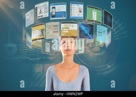 Woman looking up against white background against technology interface 3d - Stock Photo