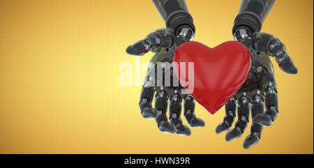 Three dimensional image of robot holding heart shape decoration against yellow vignette 3d - Stock Photo