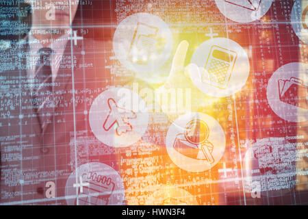 Businessman using futuristic digital screen against illuminated road amidst building at night 3d - Stock Photo