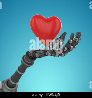 Three dimensional image of robot holding red heard shape decoration against blue vignette background 3d - Stock Photo