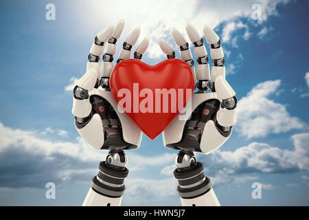 3d image of bionic person holding red heart shape decor against blue sky - Stock Photo
