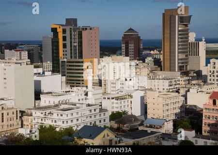 Mauritius, Port Louis, city view from Fort Adelaide, dawn - Stock Photo