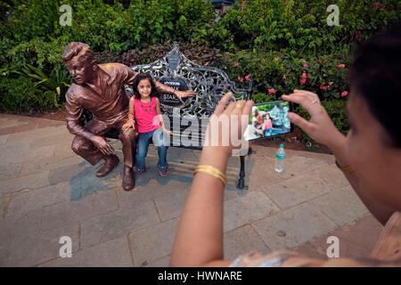India, Maharashtra State, Mumbai or Bombay, Walk of Stars on Bandstand Promenade in Bandra features famous Indian - Stock Photo