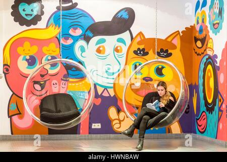 Belgium, Brussels, Rue Royale, Hotel Bloom!, Lobby with mural by Belgian artist Bue the Warrior, in which no room - Stock Photo
