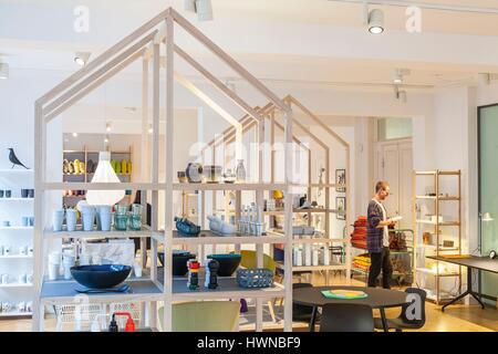 Denmark, Zealand, Copenhagen, Strøget, Østergade street, Hay House store of the eponymous design brand founded in - Stock Photo
