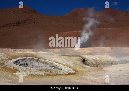 Bolivia, altiplano, deparment of Potosi, Sol de manana, geysers and fumaroles in the gorlogical site of Sol de manana, - Stock Photo