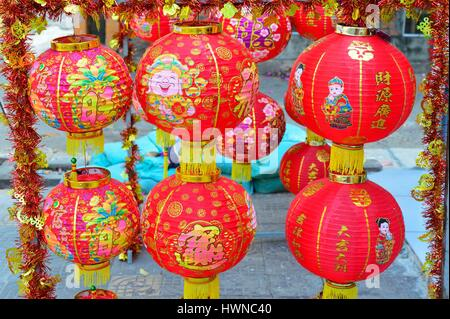 Cambodia, Phnom Penh, decorative lamps for Chinese New Year - Stock Photo