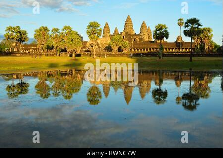 Cambodia, Siem Reap Province, Angkor temple complex, site listed as World Heritage by UNESCO, Angkor Wat - Stock Photo