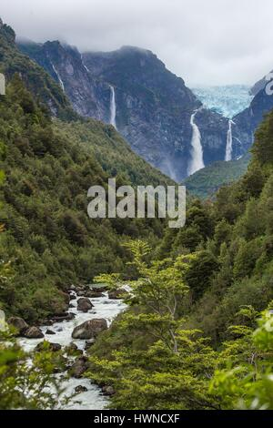 Chile, Patagonia, Aysen region, Queulat National Park, the Ventisquero Colgante glacier - Stock Photo