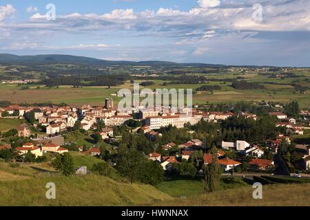 France, Haute Loire, Saugues, step on the Via Podiensis to Santiago de Compostela, Panoramic View of the village - Stock Photo