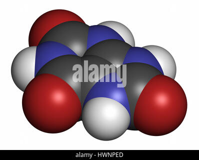 Uric acid molecule. High blood levels lead to gout disease. 3D rendering. Atoms are represented as spheres with - Stock Photo