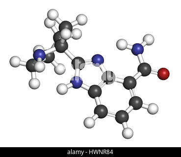 Veliparib cancer drug molecule (PARP inhibitor). 3D rendering. Atoms are represented as spheres with conventional - Stock Photo