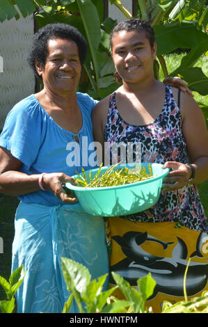 Indigenous Fijian mother and daughter collect together vegetables in the home garden.