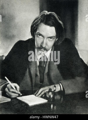 Robert Louis Stevenson, 1885 portrait photograph of the popular author of Treasure Island, aged 35 writing in his - Stock Photo