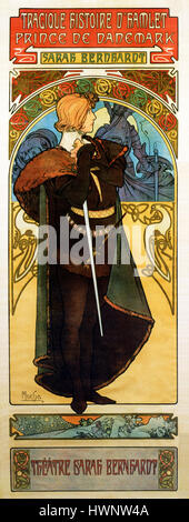 Hamlet, Sarah Bernhardt, 1899 Art Nouveau poster by Alphonse Mucha for the actress' French version of the play by - Stock Photo