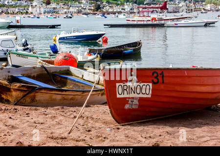 'Orinoco' and Boats on The Estuary Beach at Teignmouth With Boats Moored in the Teign Estuary, Teignmouth, Devon, - Stock Photo