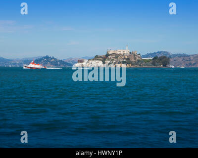 Alcatraz Island is located in San Francisco Bay, 1.25 miles (2.01 km) offshore from San Francisco, California, United - Stock Photo