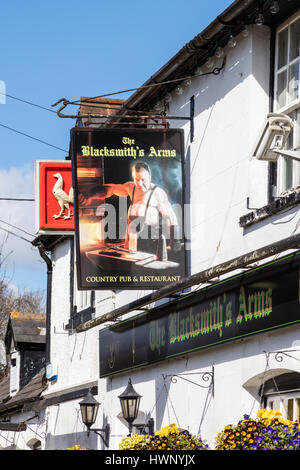 The Blacksmith's Arms pub sign, in the Village of Cudham, in the London Borough of Bromley, on the border with Kent, - Stock Photo
