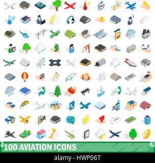 100 aviation icons set, isometric 3d style - Stock Photo