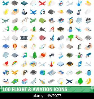 100 flight aviation icons set, isometric 3d style - Stock Photo