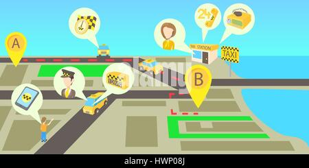 Taxi Services Horizontal Banner Cartoon Style