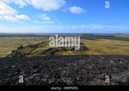 Lava field as far as the eye can see covered in moss. - Stock Photo