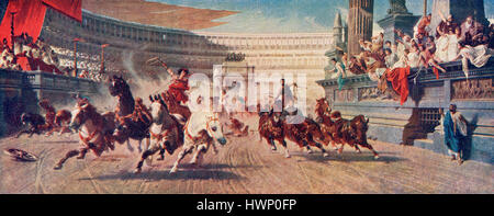 A Roman chariot race . From Hutchinson's History of the Nations, published 1915. - Stock Photo
