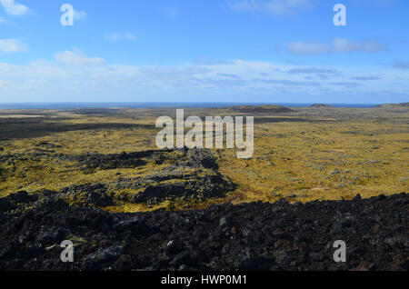 Moss covered lava field in Iceland as seen from a volcanic crater. - Stock Photo