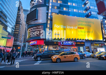 Advertising for the online shopping giant eBay in Times Square in New York on Tuesday, March 21, 2017. eBay is reported - Stock Photo