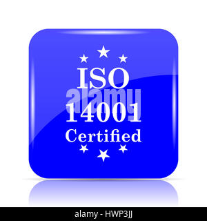 ISO14001 icon, blue website button on white background. - Stock Photo