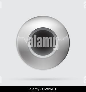 Gray metallic button, minimalistic style - Stock Photo