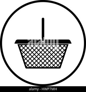 Supermarket shoping basket icon. Thin circle design. Vector illustration. - Stock Photo