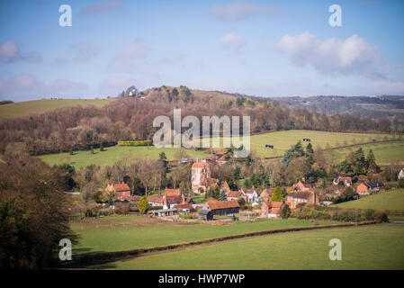 The village of Fingest from the South East - Stock Photo