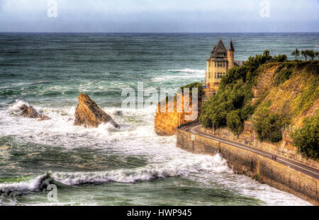 View on Villa Belza in Biarritz - France, Aquitaine - Stock Photo