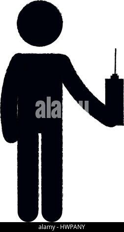 human silhouette using drone control remote vector illustration design - Stock Photo