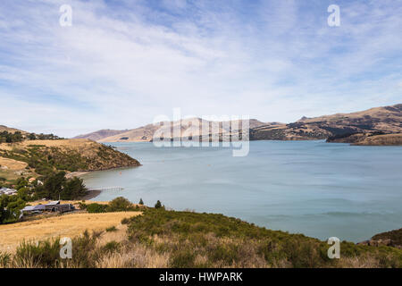 Landscape in the stunning Banks peninsula near the city of Christchurch in New Zealand south island. - Stock Photo