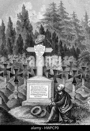 Man mourner at the tomb of Frederick Weidig at the cemetery in Darmstadt, Germany. Friedrich Ludwig Weidig, 1791 - Stock Photo