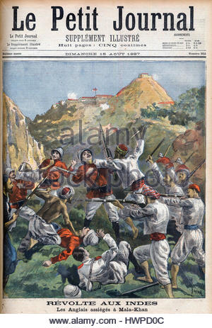 Siege of Malakand, India, 1897 - Revolt in India: the English Besieged at Mala-Khan, front cover of 'Le Petit Journal', - Stock Photo