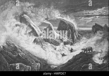 Snow storm in the pack ice on a winter night in 1873, polar bear. Barents Sea, Arctic, Austro-Hungarian polar expedition - Stock Photo