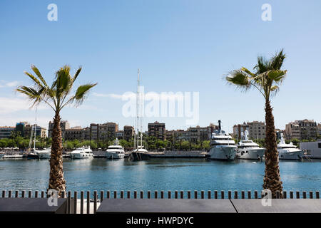 Yachts and boats in the marina of Barcelona - Stock Photo